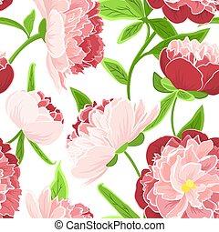 rose, pivoine, rose, seamless, vert, modèle, fleurs, rouges