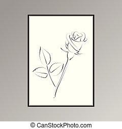 rose, plakat, für, innere ausstattung