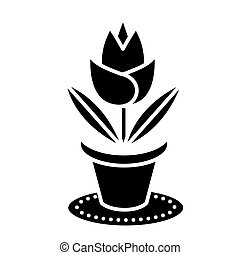 rose plant pot icon, vector illustration, black sign on...