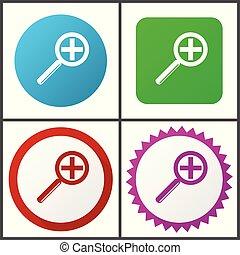 rose, plat, bleu, symboles, toile, éditer, set., icons., lentille, vecteur, vert, facile, signes, conception, rouges, icône