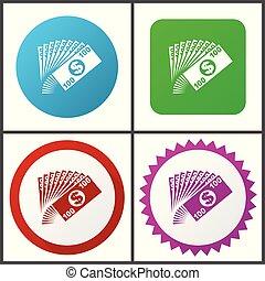 rose, plat, bleu, toile, éditer, argent, set., icons., symboles, vecteur, vert, facile, signes, conception, rouges, icône