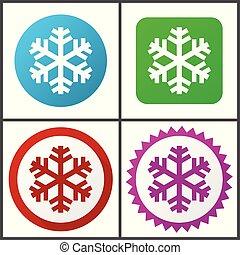 rose, plat, bleu, toile, éditer, set., neige, icons., symboles, vecteur, vert, facile, signes, conception, rouges, icône