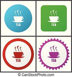 rose, plat, bleu, toile, éditer, thé, set., icons., symboles, vecteur, vert, facile, signes, conception, rouges, icône