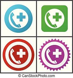 rose, plat, bleu, urgence, toile, éditer, set., icons., symboles, vecteur, conception, facile, signes, appeler, rouge vert, icône