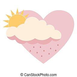 rose, plat, coeur, soleil, sur, ciel, isolé, derrière, rain., fond, nuage blanc