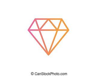 rose, plat, diamant, gradient, vecteur, orange, icône