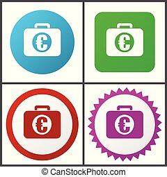 rose, plat, financier, bleu, toile, éditer, set., icons., symboles, vecteur, vert, facile, signes, conception, rouges, icône
