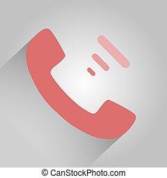 rose, plat, gris, téléphone, fond, ombre, icône