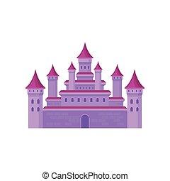 rose, plat, moyen-âge, tours, grand, roofs., élevé, livre, château, vecteur, conte, fée, conique, enfants, fortress.