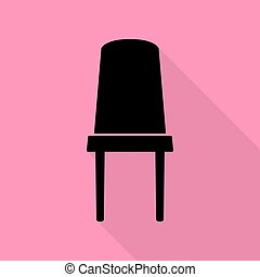 rose, plat, style, bureau, signe., arrière-plan., noir, sentier, chaise, ombre, icône