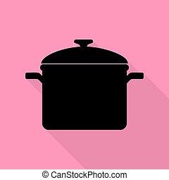 rose, plat, style, signe., cuisine, arrière-plan., noir, sentier, ombre, moule, icône