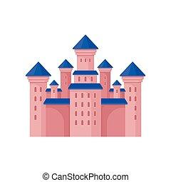 rose, plat, vecteur, fée, tours, bleu, royal, élément, grand, élevé, livre, roof., château, conte, enfants, bâtiment.