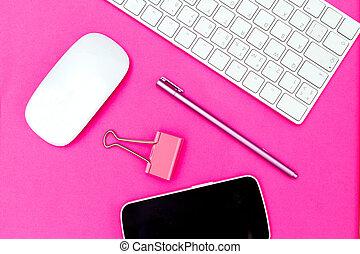 rose, plat, vif, arrière-plan., poser, clavier, papeterie, souris