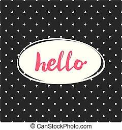 rose, points, cadre, polka, signe, vecteur, arrière-plan noir, blanc, bonjour