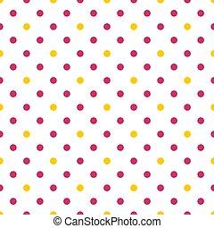 rose, points, modèle, polka, jaune, vecteur, fond, carreau, blanc