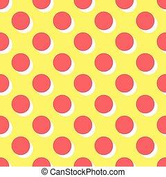rose, points, modèle, polka, jaune, vecteur, fond, carreau