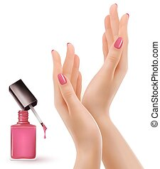 rose, poli, nails., vernis à ongles, vector., mains, bottle.