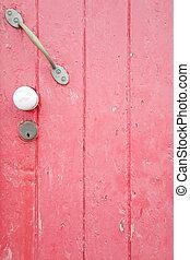 rose, porte peinte