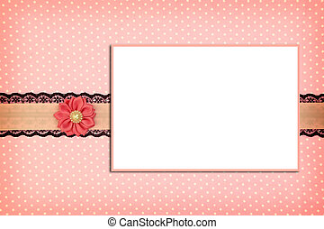 rose, porte-photo, polka, fond, point