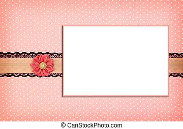 rose, porte-photo, polka, fond, point
