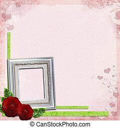 rose, porte-photo, roses, fond, argent, rouges