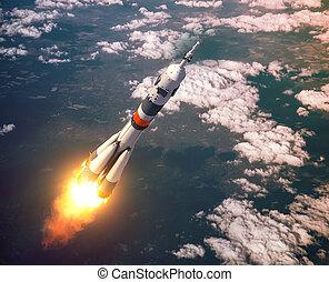 rose, porteur, nuages, lancement fusée