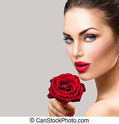 rose, portrait, face., mannequin, rouges, femme, beauté, fleur