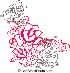 rose portrait with scroll ornament