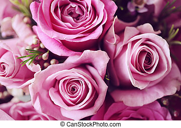 A wedding posy bouquet with pink roses