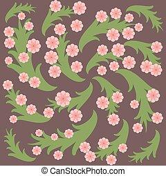 rose, pourpre, feuilles, arrière-plan., vert, fleurs
