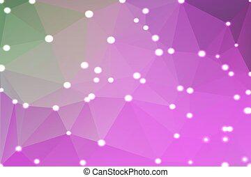rose, pourpre, lumières, arrière-plan vert, géométrique