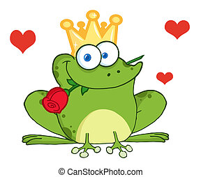 rose, prince, grenouille