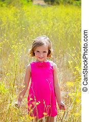 rose, printemps, champ jaune, enfant, girl, fleurs, robe, gosse