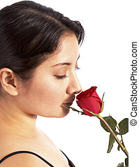 rose, projection, amour, rouges
