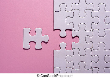 rose, puzzle, morceaux denteux, fond, blanc, incomplet