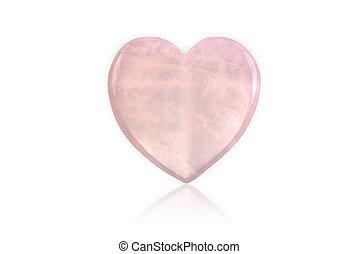 Rose Quartz Heart isolated on white background