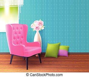 rose, réaliste, chaise, intérieur, affiche