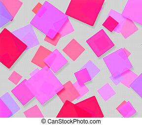 rose, résumé, carrés, fond