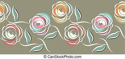 rose, résumé, fleur, frontière, seamless