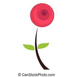 rose, résumé, fleur, isolé