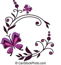 rose, résumé, fleurs, à, papillons, -1