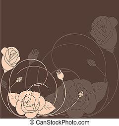rose, résumé, modèle fleur