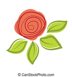 rose, résumé, vecteur, flower., illustration