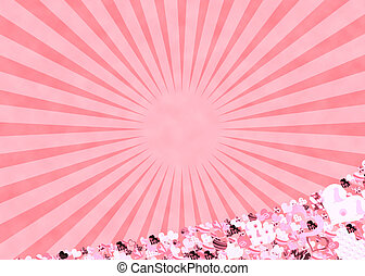 rose, rayons soleil, fond, cœurs