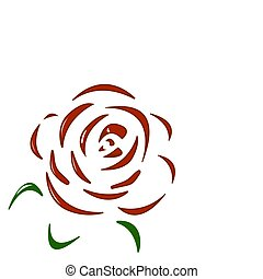 Rose. Red flower on white background.