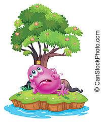rose, reposer, beanie, monstre, maison, île, arbre, illustration, fond, sous, blanc