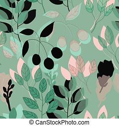 rose, reprise, modèle, botanique, vecteur, vert, impression, geo
