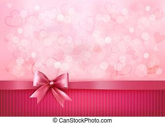 rose, ribbon., cadeau, valentines, arc, day., vecteur, fond, vacances
