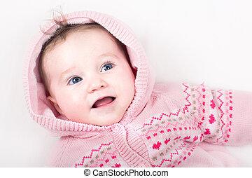 rose, rigolote, peu, modèle, veste, bébé, cœurs, girl