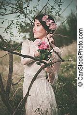 rose, ritratto, donna, albero, giovane